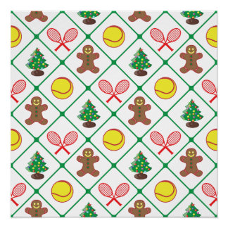 Tennis Christmas pattern Poster