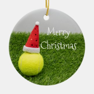 Tennis Christmas & tennis ball and Santa hat Ceramic Ornament