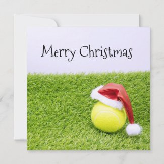 Tennis Christmas & tennis ball and Santa hat Holiday Card