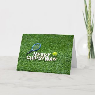 Tennis Christmas with racket and tennis ball Card