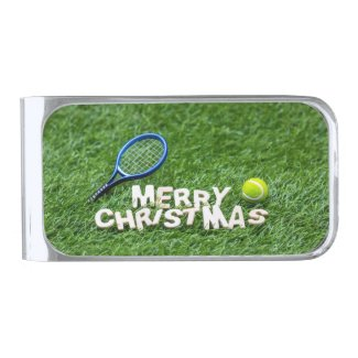 Tennis Christmas with racket and tennis ball Card Silver Finish Money Clip