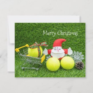 Tennis Christmas with Santa Claus and tennis ball