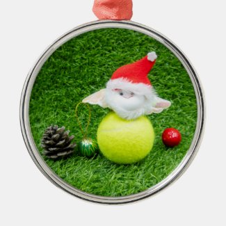 Tennis Christmas with Santa Claus and tennis ball Metal Ornament