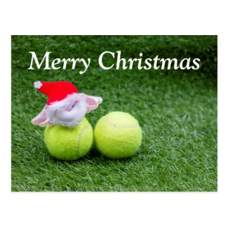 Tennis Christmas with Santa Claus on green Postcard