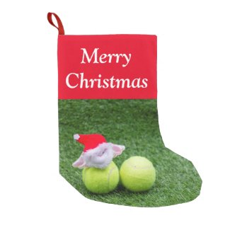 Tennis Christmas with Santa Claus on green Small Christmas Stocking