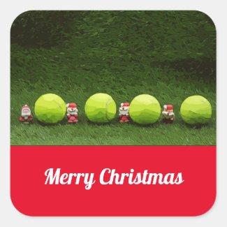 Tennis Christmas with Santa Claus Square Sticker