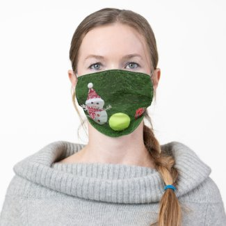 Tennis Christmas with Snowman and tennis ball Adult Cloth Face Mask