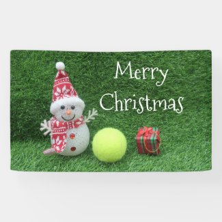 Tennis Christmas with Snowman and tennis ball Banner