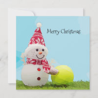 Tennis Christmas with Snowman and Tennis ball Card