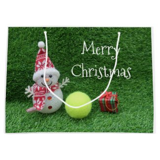 Tennis Christmas with Snowman and tennis ball Large Gift Bag