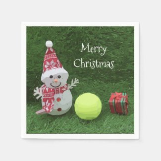 Tennis Christmas with Snowman and tennis ball Napkins