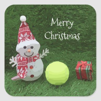 Tennis Christmas with Snowman and tennis ball Square Sticker