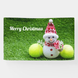 Tennis Christmas with Snowman Banner