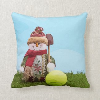 Tennis Christmas with Snowman on green grass Throw Pillow