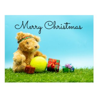 Tennis Christmas with teddy bear &  gifts ornament Postcard