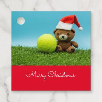 Tennis Christmas with teddy bear wears Santa hat Favor Tags