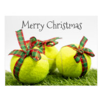Tennis Christmas with Tennis ball and gifts Postcard