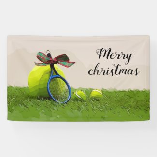 Tennis Christmas with tennis ball and racket Banner
