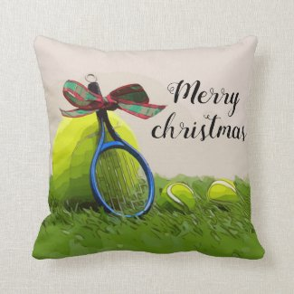 Tennis Christmas with tennis ball and racket Throw Pillow