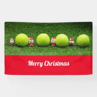 Tennis Christmas with tennis ball and Santa Claus Banner