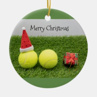 Tennis Christmas with tennis ball and Santa hat Ceramic Ornament