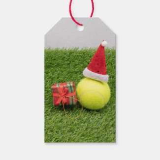 Tennis Christmas with tennis ball and Santa hat Gift Tags