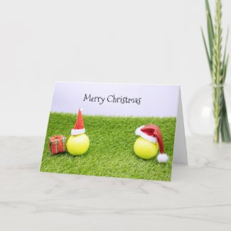 Tennis Christmas with tennis ball and Santa hat Holiday Card