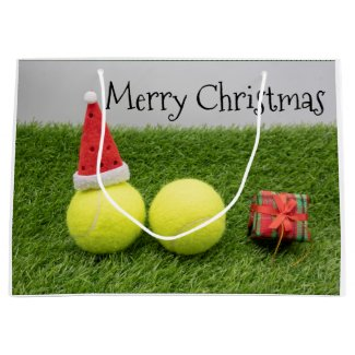 Tennis Christmas with tennis ball and Santa hat Large Gift Bag