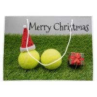 Tennis Christmas with tennis ball and Santa hat Large Gift Bag