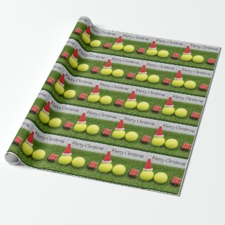 Tennis Christmas with tennis ball and Santa hat Wrapping Paper