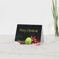 Tennis Christmas with tennis ball and snowflake Card
