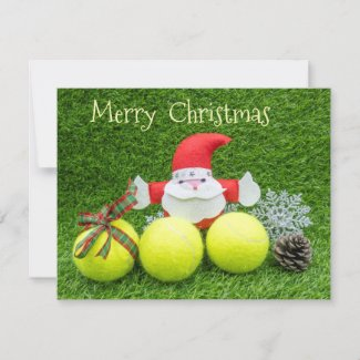 Tennis Christmas with tennis balls and Santa Claus