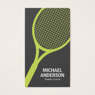 Tennis coach business card - gray, modern, minimal