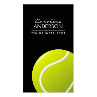 Tennis coach / instructor / player black Double-Sided standard business cards (Pack of 100)