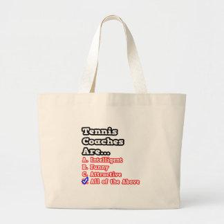 Tennis Coach Quiz Joke Canvas Bags