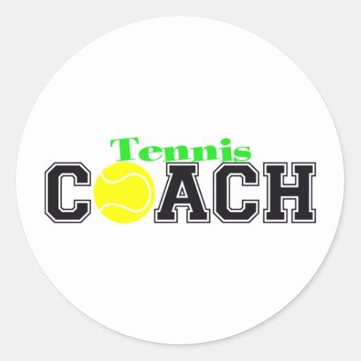 Tennis Coach Round Stickers