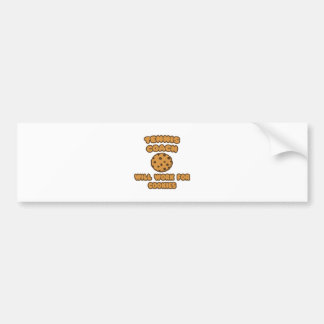 Tennis Coach Will Work for Cookies Bumper Stickers
