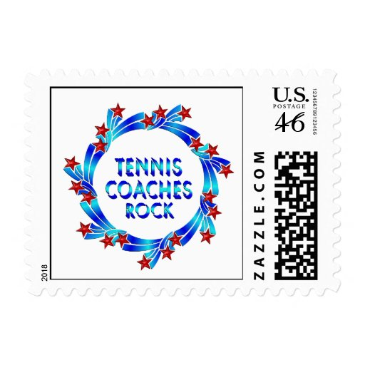 Tennis Coaches Rock Red Stars Stamp