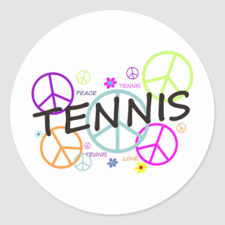 Tennis Colored Peace Signs Classic Round Sticker