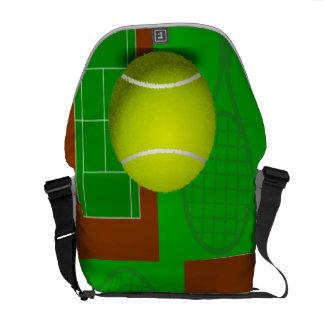 Tennis Court and Racquets Messenger Bag