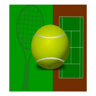 Tennis Court and Racquets Print