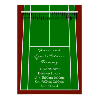Tennis Court Layout Graphic Poster