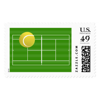 Tennis court & TENNIS ball Postage