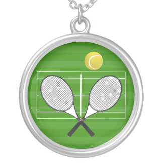 Tennis Court & Tennis Ball Silver Plated Necklace