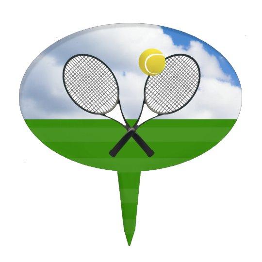 Tennis Court Tennis Rackets Cake Topper Zazzle Com