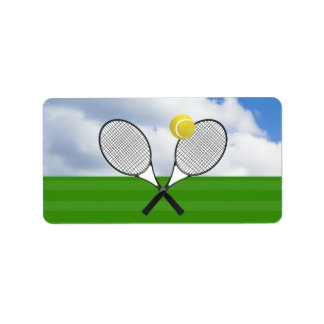 Tennis court & TENNIS RACKETS Label