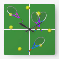 Tennis Court with Rackets and Balls Square Wall Clock