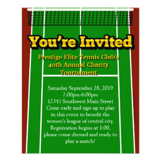 Tennis Court You're Invited Custom Small Flyers