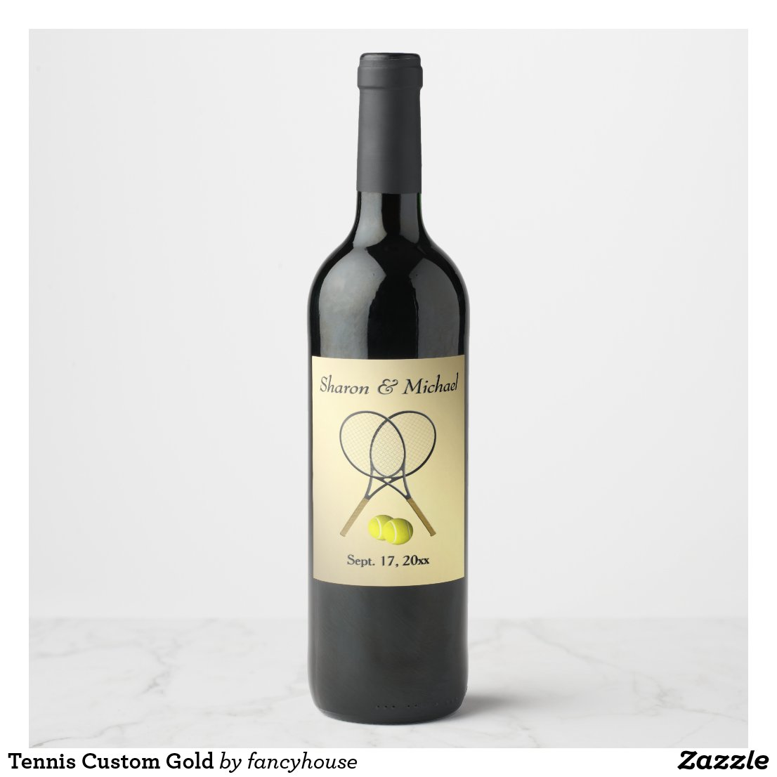 Tennis Custom Gold Wine Label