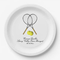Tennis Doubles 3 Text Lines Paper Plate